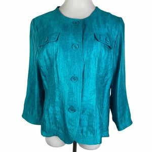 Ruby Rd. Turquoise Shimmer Button Down Jacket